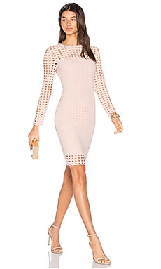 Circular Hole Long Sleeve Dress in Blush