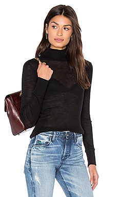 Sheer Wooly Rib Turtleneck in Black