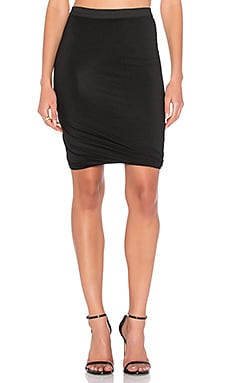 Marled Drape Jersey Skirt in Black