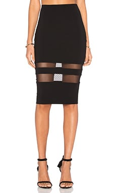 Mesh Stripe Pencil Skirt in Black
