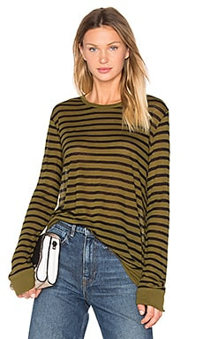 Linen Stripe Long Sleeve Tee Stripe in Black & Forest