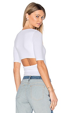 Short Sleeve Back Slit Tee in White