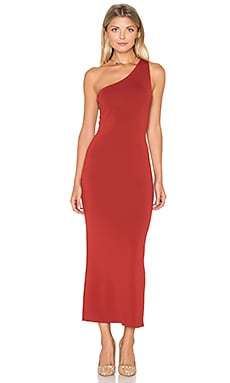 Yuleena Midi Dress in Red Oak