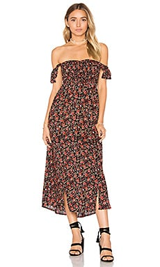 Hollie Midi Dress in Wildflower Black & Red