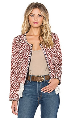 Santa Fe Fringe Jacket in Burnt Red