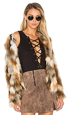 x REVOLVE Averly Faux Fur Coat on Beige & Brown