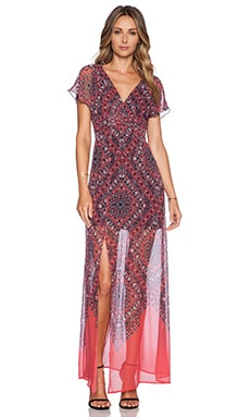 Vintage Maxi Dress in Coral Hankerchief