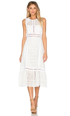 Open Back Geo Lace Dress in White