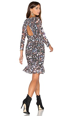 Smocked Flounce Dress in New Camo Multi Black & Leaf