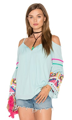 Jubilee Cold Shoulder Top in Blue