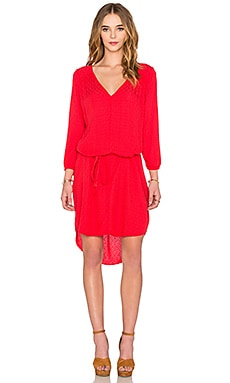 Floressa Damask Rayon Long Sleeve Dress in Punch