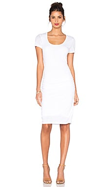 Dina Lux Slub T Shirt Dress in White