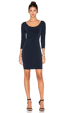 Gini Stretch Jersey 3/4 Sleeve Dress in Midnight