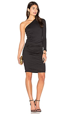 Sheela One Shoulder Midi Dress in Black