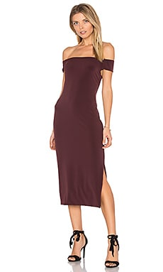 Francella Off Shoulder Midi Dress in Vino