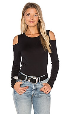 Zabana Long Sleeve Open Shoulder Top in Black