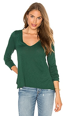 Sookie Long Sleeve V Neck Top in Axe