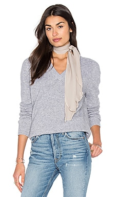 Low V Neck Sweater in Heather Steel