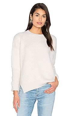 Honeycomb Crew Neck Sweater in Winter White
