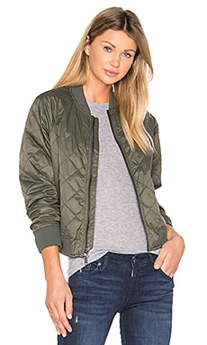 Quilted Bomber in Olive