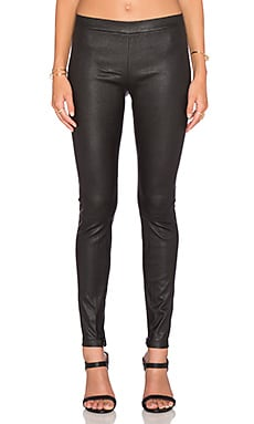 Leather Ankle Zip Legging in Black