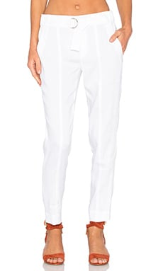 Linen Belted Trouser in White