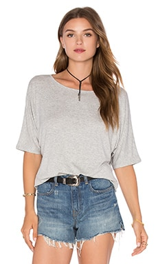Luxe Rib Dolman Tee in Heather Grey