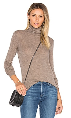 Cowl Neck Tee in Heather Coffee