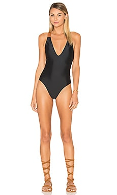 Leather One Piece in Solid Black
