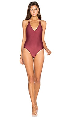 Solid Piercing One Piece in Burgundy
