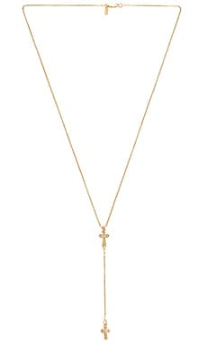 Stella Cross Rosary Necklace in Gold