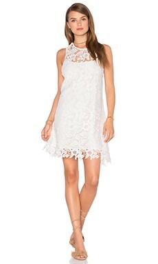 Cross Strap Dress in White Crochet