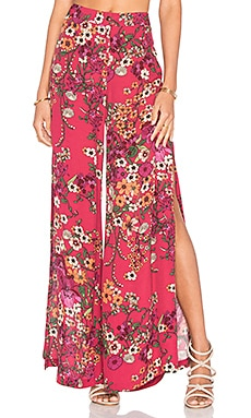 Split Wide Leg Pant in Red Botanical