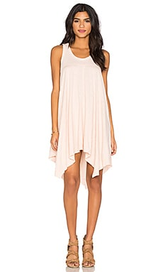 Slub Hanky Hem Slit Tank Dress in Pink