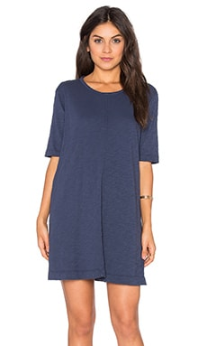 Slub Trapeze Tee Shirt Dress in Aviator