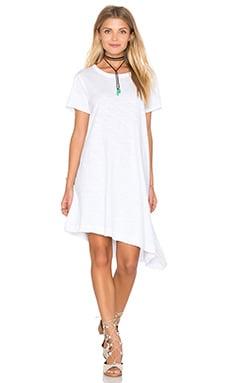 Slub Slant Hem Trapeze Dress in White
