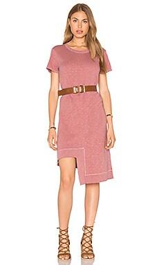Rib Mix Uneven Hem Tee Dress in Rustic
