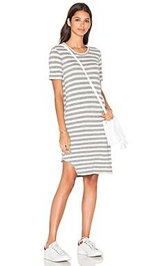 Baby Cashmere T Notch Hem Elbow Sleeve Dress in Oatmeal & Grey Heather
