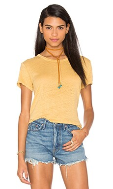 Lux Slub Easy V Hem Tee in Maize