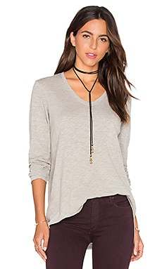 Vintage V Neck Long Sleeve Top in Grey Heather