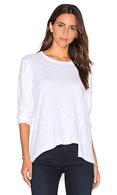 Slouchy Shifted Slant Long Sleeve Top in White