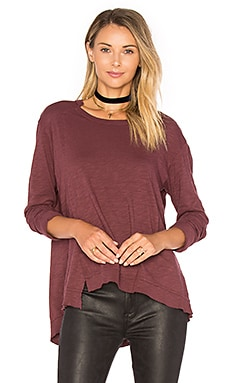 Slouchy Overlay Shift Long Sleeve Top in Maroon
