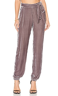 Ciarra Velvet Pant in Mid Grey