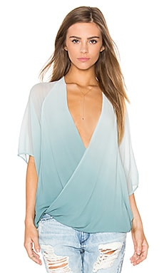 H Wrap Top in Teal Ombre