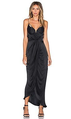 Sueded Balconette Long Dress in Black