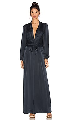 Sueded Silk Wrap Jumpsuit in French Navy