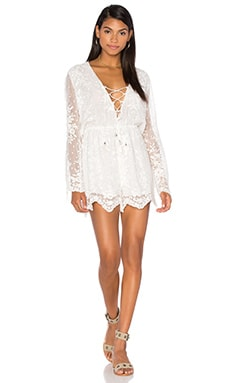Roza Silk Veil Playsuit in White