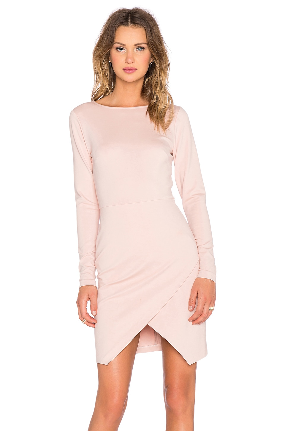 Long Sleeve Ponte Wrap Front Bodycon Dress