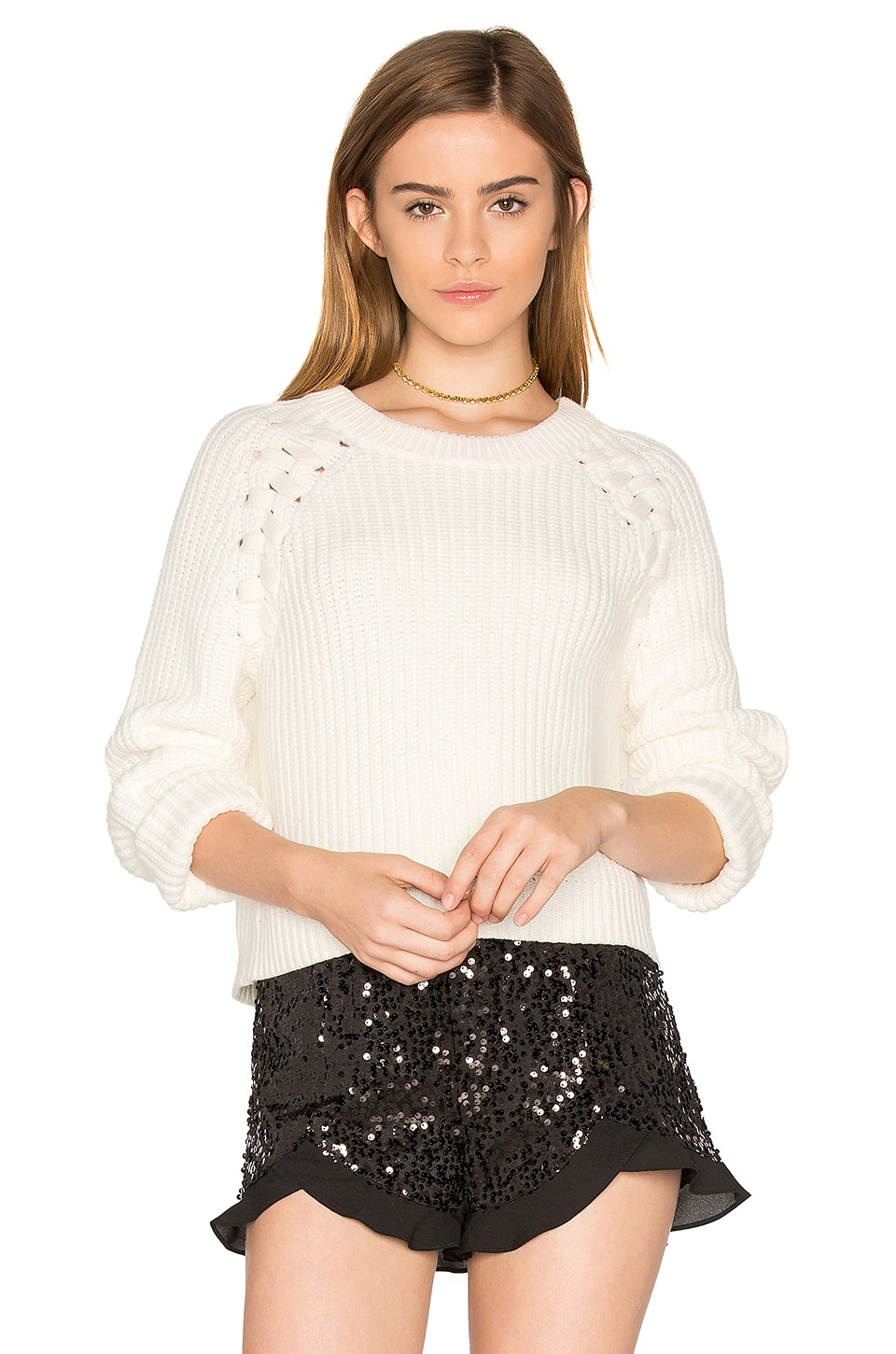 Lace Up Shoulder Sweater
