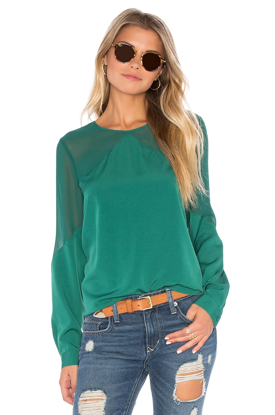 Long Sleeve Sheer Yoke Blouse